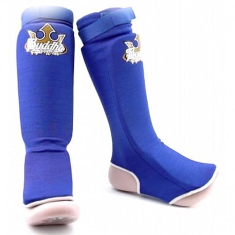 Jambières (protège tibia + protège pied) Buddha Training tubulaires Bleues Enfant